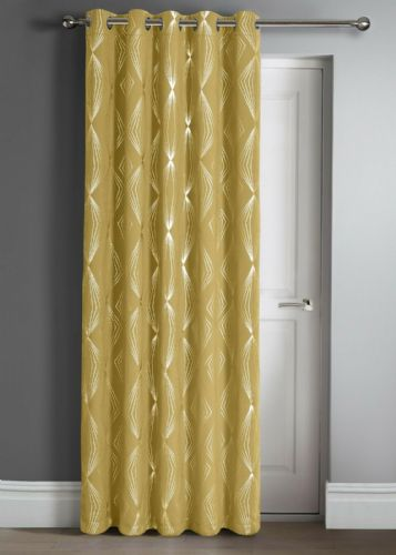 "Geometric Aztec  Thermal Blackout Ring Top Eyelet Door Curtain Panel, 46"" x 84"" Ochre"